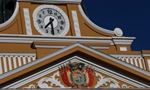 Re-engineered clock on Congress Bldg, La Paz, Bolivia