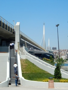 Golden Horn Bridge carrying the new Metro line. Superb views from the station.