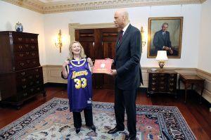 Mrs Clinton looks like she's a biiig fan!