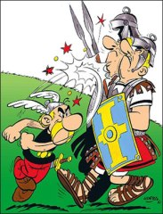 Asterix beating up Romans - Sad to say he lost in the end