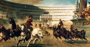 Chariot racing in the hippodrome
