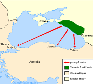 Map showing destinations of Circassians expelled from their homeland up to 1864