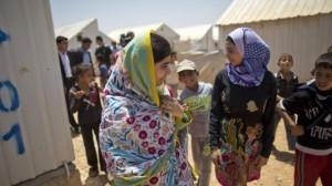 Malala Yousafzai speaking with Syrian refugees in Jordan