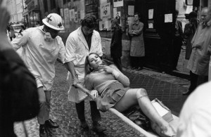 Paris 1968 - student injured in demonstrations