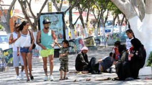 Asylum-seekers from Syria wait in Bodrum, Turkey