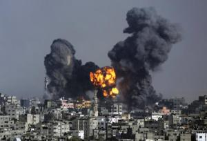 Explosion from an Israeli rocket strike in Gaza
