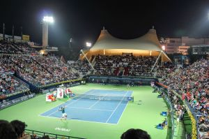 Federer and Djokovic play in the 2014 Dubai Tennis Champs. Count the Arabs.
