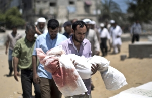 Mourning Palestinans in Gaza carry the body of a 5 year-old boy killed in an Israeli strike