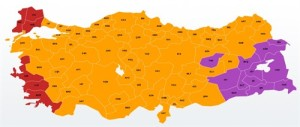 November Election results: Red=CHP, Orange=AKP, Purple=DHP
