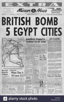 1956-mirror-news-usa-front-page-reporting-israel-invades-egypt-during-E5GNF9